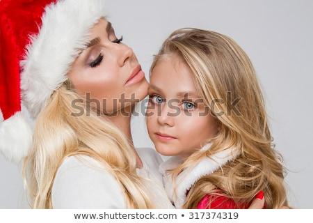 Sexy blond kerstman mooie meisje christmas Stockfoto © carlodapino