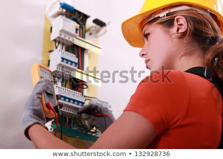 woman electrician with tools Stock photo © photography33