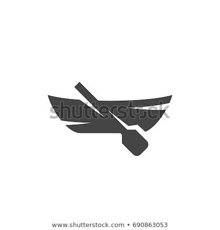 Сток-фото: Rowing Boat Pictogram On Black Background
