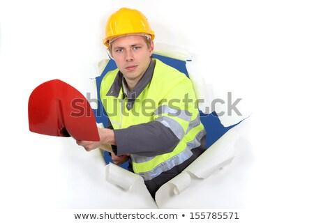 портрет Cute каменщик лопатой бизнеса фон Сток-фото © photography33