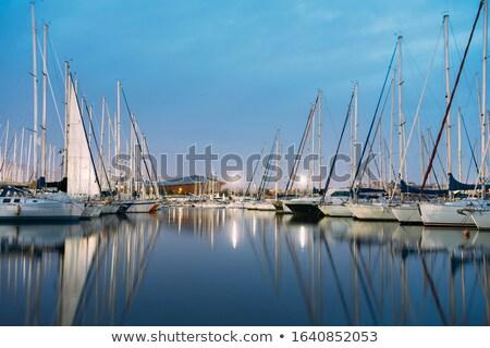 Navegação barcos porto pier noite Foto stock © meinzahn