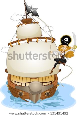 pirata · menina · papagaio · mulher · olhos · crânio - foto stock © lenm