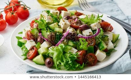 Akdeniz salata yeşil taze domates balsamik sirke Stok fotoğraf © franky242