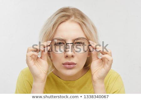 elegáns · üzletasszony · néz · látcső · szőke · nő - stock fotó © stockyimages