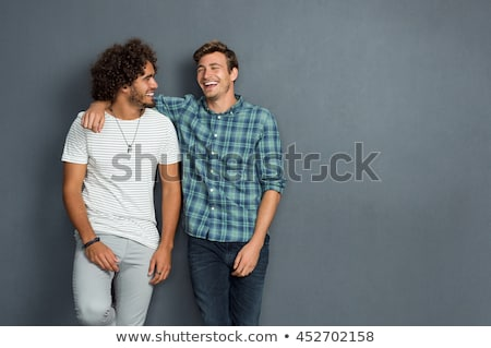 Kettő barátok portré aranyos legény átkarol Stock fotó © pressmaster