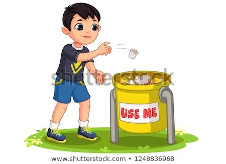 мало · мальчика · мусорное · ведро · черный · вьющиеся · волосы · желтый - Сток-фото © photography33