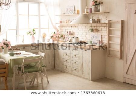 кухне · водопроводный · кран · печи · современных · черно · белые · интерьер - Сток-фото © pxhidalgo
