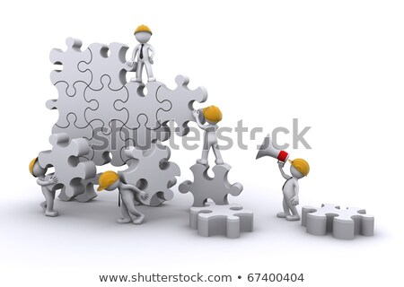 business team work building a puzzle. Business developing concept. Stock photo © Kirill_M