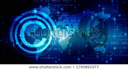 Botão direitos autorais computador onda com texto Foto stock © mizar_21984