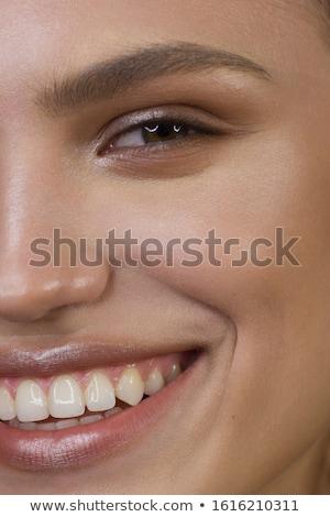 szem · smink · nő · szempilla · smink · arc · törődés - stock fotó © geribody