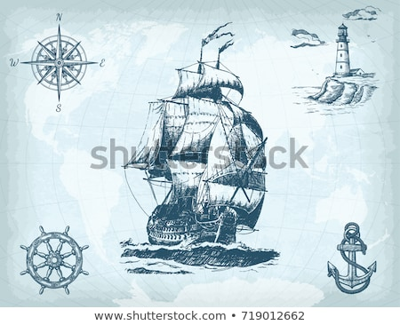 old paper with a pirate ship stock photo © jackybrown