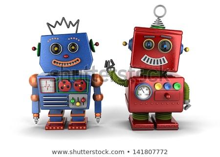 Meglepődött robot haver nagy kicsi integet Stock fotó © creisinger