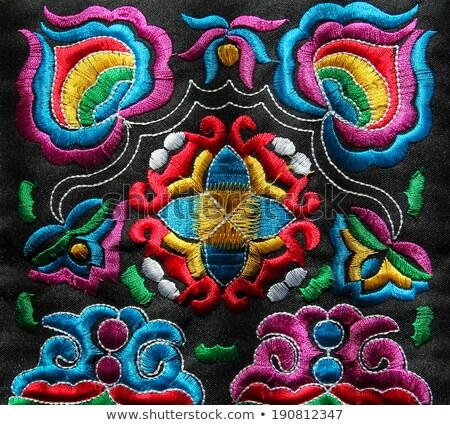 フローラル 手 刺繍 パターン 芸術 オレンジ ストックフォト © inxti