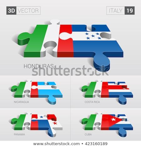 Italia Costa Rica banderas rompecabezas aislado blanco Foto stock © Istanbul2009