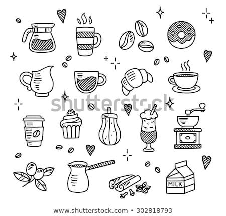 Kávéscsésze szett kéz rajz kávé konyha Stock fotó © kiddaikiddee