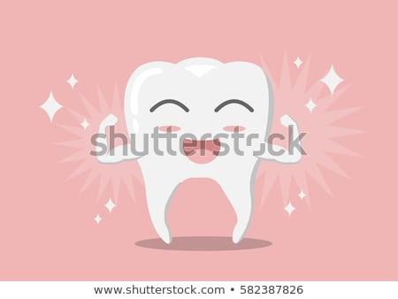 Child shows healthy teeth. Vector cartoon Stock photo © orensila