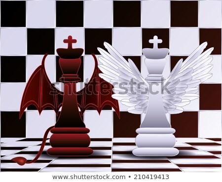 Xadrez rainha anjo diabo fundo preto Foto stock © carodi