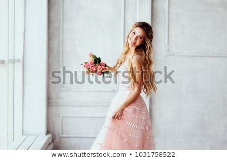 fiatal · hölgy · repülés · pillangók · fiatal · nő · virág - stock fotó © gromovataya