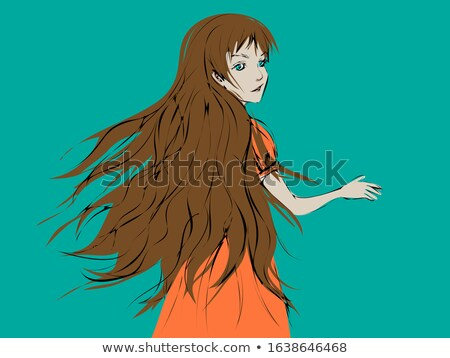 cartoon young woman in blue dress with hair blown by wind stock photo © zebra-finch
