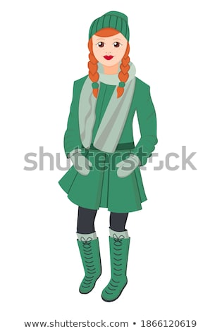 Cartoon young woman in red scarf and gray coat Stock photo © Zebra-Finch