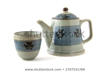 Porcelana herbaty puli otwarte kolor obiektu Zdjęcia stock © dezign56