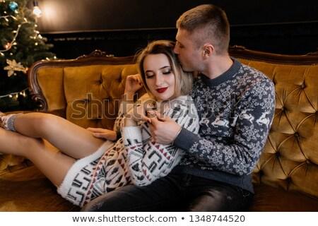 Szerelmespár ölelés biztonság feketefehér fotó férfi Stock fotó © Geribody