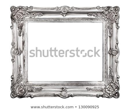 Rettangolare argento cornice legno isolato bianco Foto d'archivio © smuki