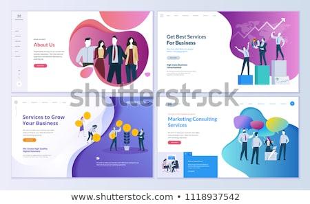 Photo stock: Conception · de · site · web · modèle · menu · faq