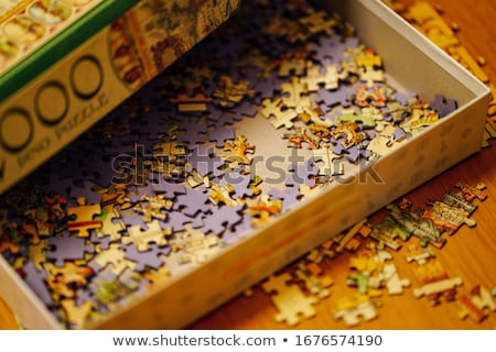 Stock fotó: Time For Solutions On Blue Puzzle