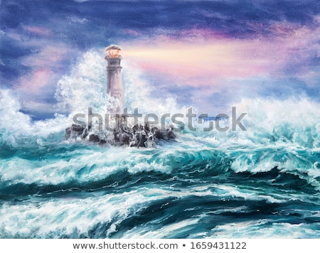 lighthouse during a sea storm stock photo © Luisapuccini