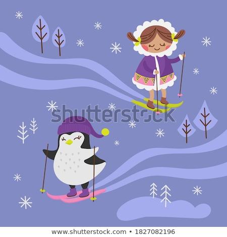 Cute little girl on the pole stock photo © kasjato