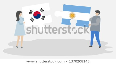 Argentina Corea del Sur banderas rompecabezas vector imagen Foto stock © Istanbul2009