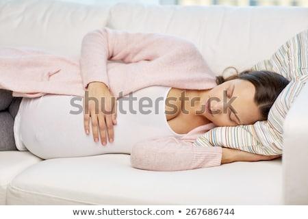 Boldog terhes nő nagy meztelen pocak otthon Stock fotó © dolgachov