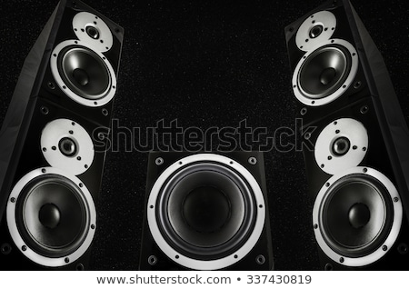 Stock fotó: Pair Of Black Loud Speakers