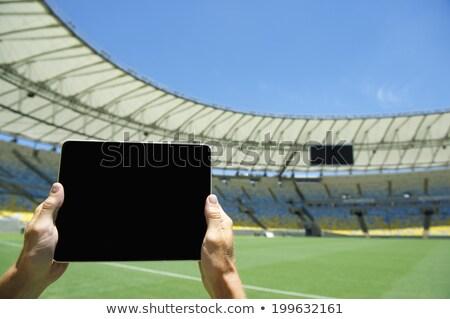Futball tabletta képernyő pálya fű mező Stock fotó © wavebreak_media