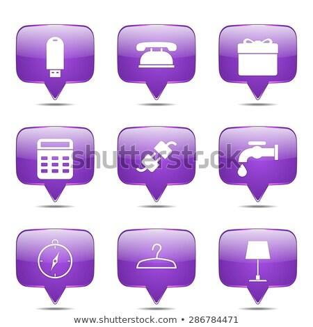 Stockfoto: House Equipments Square Vector Violet Icon Design Set