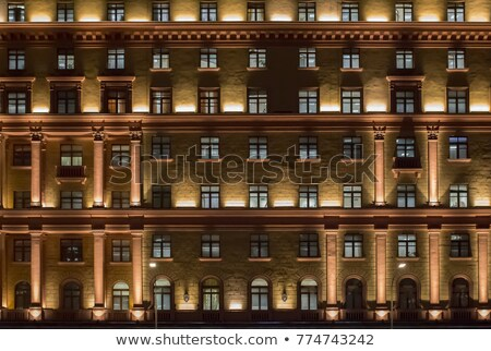 Facade of classical architecture building at night Stock photo © stryjek