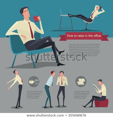 üzletember megnyugtató pozició izolált üzlet diák Stock fotó © fuzzbones0