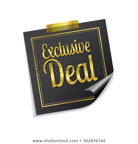 Exclusief deal gouden sticky notes vector icon Stockfoto © rizwanali3d