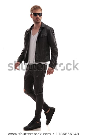 Cool attractive man in leather jacket Stock photo © stokkete