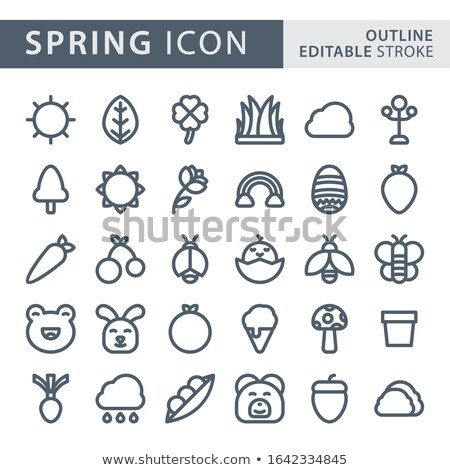 flat gardening and flowers squared app icons set stock photo © anna_leni