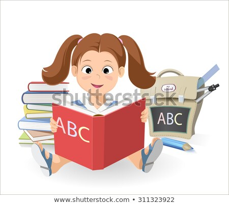 vector smiling little girl with the book learn the alphabet a stack of books school bag stock photo © fractal86