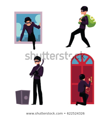 Robber in a mask carries bag. Man robber Stock photo © orensila