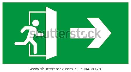 Zdjęcia stock: Awaryjne · wyjście · zielone · przerwie · szkła · przycisk
