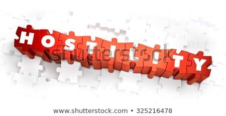 Ellenségeskedés szöveg piros fehér 3d render béke Stock fotó © tashatuvango
