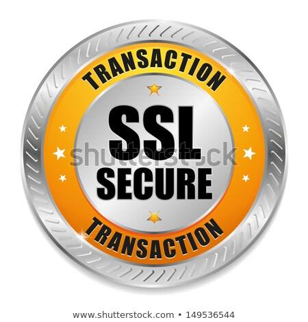 Biztonságos tranzakció citromsárga vektor ikon gomb Stock fotó © rizwanali3d