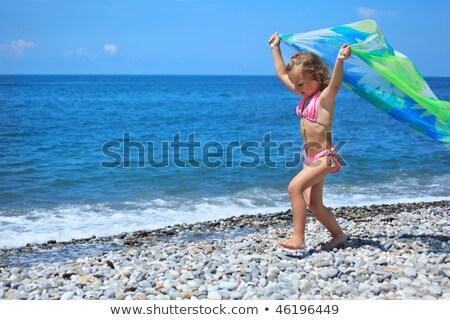 little girl lifted hands upwards on stony beach Stock photo © Paha_L
