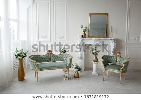 антикварная интерьер сцена кресло свечу мебель Сток-фото © ElaK