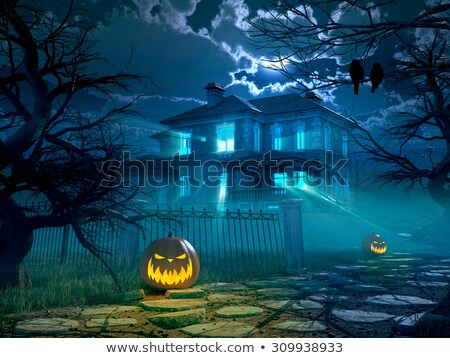 3D Halloween background with spooky castle and pumpkins Stock photo © kjpargeter