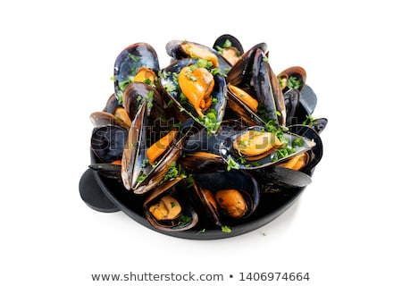 Stock photo: cooked mussels with lemon and parsley